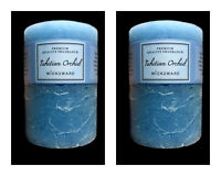 2x Tahitian Orchids Blue Scented Pillar Candle Candles Home Decor 6.8x9.5cm
