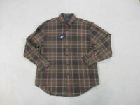 NEW Nautica Button Up Shirt Adult Large Green Brown Plaid Long Sleeve Casual Men