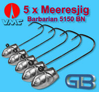 5 x Meeresjig Dorschbombe 70g Jig Bleikopf VMC Barbarian 5150 BN 6/0.