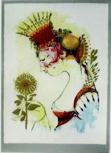 Original vintage poster print LADY & FLOWER BJORN WIINBLAD c.1980
