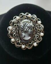 Vintage Nouveau Victorian Hematite Glass Cameo Pendant Brooch w Faux Pearls