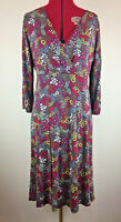 M&S Per Una - Crossover Floral Print Jersey Dress - Size UK 16 R - Spring Retro