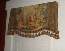 Custom Window Valance Bosporus Vintage Red Toile Paisley Leopard Tassel Trim 48""