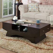 Wood Coffee Table with Storage Classic Raised Panel Doors Espresso Drawers Glass
