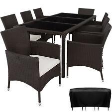 Set de Mueble de Jardín Conjunto Ratán Mobiliario Exterior 8 Sillas Mesa Funda