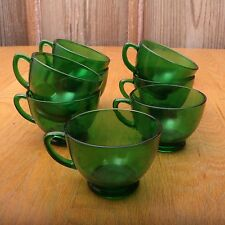 8 Vintage Anchor Hocking Forest Green Punch Cups Glasses Handle