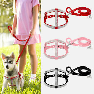 Suede Bling Rhinestones Step In Dog Harness and Leads Adjustable Pink Red Black