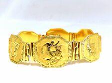 Ägyptische Hieroglyphen Statement Armreif Armband 18kt Gold