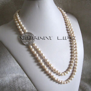"""24-26"""" 7-9mm White 2Row Freshwater Pearl Necklace A-06 U"""