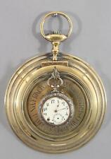 Rare Antique French Brass Oversized Pocket Watch Medicine Reminder, Watch Holder