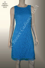 RALPH LAUREN Women Dress SIZE 10 TURQUOISE Sleeveless LACE Dressy NEW$150 LBCUSA