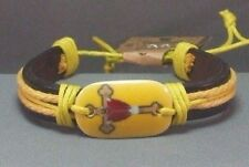 "Christian Cuff Bracelet ""Jesus on Cross""  Brown Leather YELLOW Accents GIFT!"