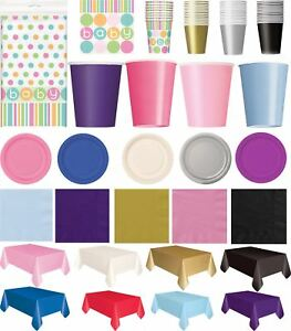 Plain Party Decoration Cups Plates Table Cover Lunch Napkins Ply Xmas Halloween