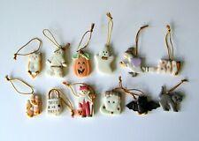 Set of 12 Miniature Porcelain Ornaments for Lenox Halloween Trick or Treat Tree
