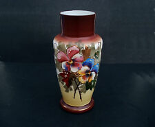 Antique Art Nouveau Glass Vase Hand Painted Gold Gilded Floral Milk Glass 12""