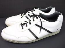 Men's Footjoy Contour Golf Shoes Size 15 White Black Leather Spikeless