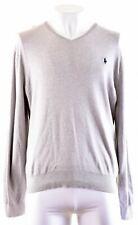 POLO RALPH LAUREN Mens V-Neck Jumper Sweater XL Grey Cotton  CG06