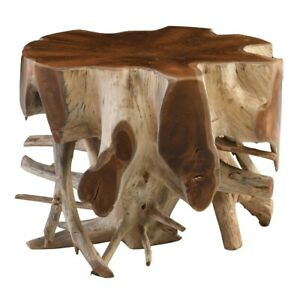 "24"" W One of a Kind Accent Table Natural Free Form Solid Exotic Wood Root Modern"