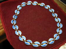 EARLY Pre-Designer Logo Winnaess for David Andersen DA NORWAY BLUE LEAF Necklace