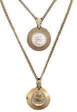 2 VTG Gold Tone TEENTIME De Luxe Swiss Movt Watch Necklace Pendant Non-working.