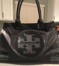 Authentic Tory Burch Ella Nylon  Logo Tote Bag Black