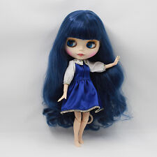 Blythe Nude Doll from Factory Matte Face Jointed Body Dark Blue Hair With Bang