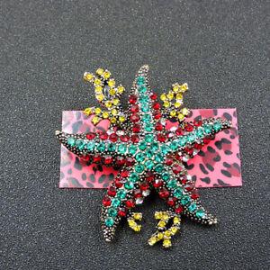 Betsey Johnson Multi-Color Crystal Cute Coral Starfish Animals Brooch Pin
