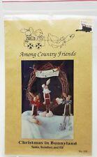 Country Primitive Pattern Christmas Bunnyland Santa Reindeer Elf Wreath New 1991