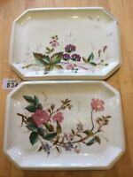 Two Vintage Hand Painted Porcelain Trays / Plates / Platters Blackberries Roses