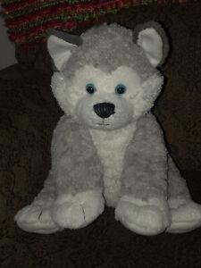 "Build-A-Bear 15"" Happy Siberian Husky Gray Wolf Dog Plush Stuffed Animal"