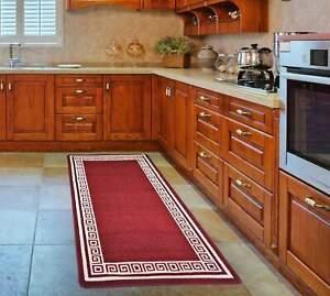 Bravich Greek Non-Slip Stair Runner Rug Hallway Kitchen Mat with Gel Back, Red