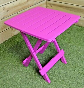 Pink Folding Table Portable Plastic Outdoor Camping Garden Party BBQ 44x44cm