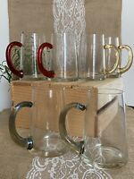 """6 Vtg Coffee Cups Mugs Clear Glass Colored Mirrored Handles Teal, Red, Yellow 5"""""""