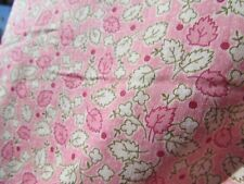 "VTG fabric 1930s pink green cream 3 yards X 16"" leaves flowers small scale print"