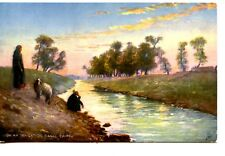 People at Irrigation Canal-Cairo-Egyptian Gazette-Vintage Tuck Artwork Postcard