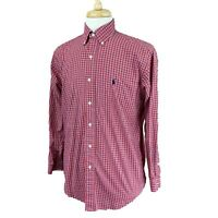 Ralph Lauren Polo Men's Blake Long Sleeve 100% Cotton Red Blue Check Shirt Small
