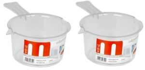 2 x Microwave It Polly Prop Sauce Pan 500ml White - Plastic Saucepan - Cooking