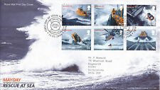 13 MARZO 2008 SOS SOCCORSO in Mare ROYAL MAIL FIRST DAY COVER Poole Dorset SHS un