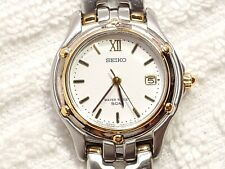 Vintage Seiko Date Quartz Watch Two Tone White Dial 50 Meters Roman Numeral