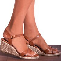 Ladies Tan Criss Cross Espadrilles Wedged Platforms Wedges Strappy Sandals Size