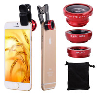 Red Fish Eye Angle Macro Clip-on Camera Lens Kit for Samsung Galaxy S7/S6/Edge+