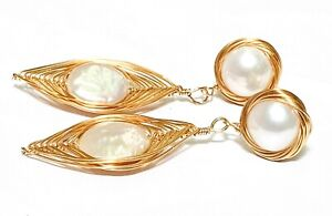 Natural White Double Cultured 9.5 and 11.5mm Flat Round Pearl Dangle Earrings