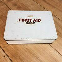 Vintage Mid Century First Aid Case Tin with Hinged Lid (White & Red Collectable)