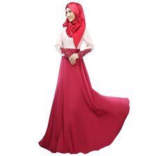 Vintage Women Kaftan Abaya Islamic Muslim Cocktail Long Sleeve Jilbab Maxi Dress