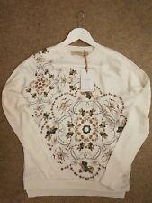 Ted Baker Barbz Majestic Evening Fine Knit Silk Front jumper Top Size 8-10 (TB1)