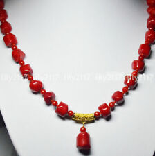 24Inch Real Natural Coral 10-12mm Red Coral Gems Beads Pendant Necklaces