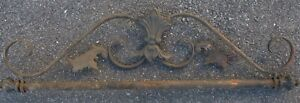 """WROUGHT IRON SIGN TOPPER BRACKET PEDIMENT VINTAGE SCROLL STYLE  32"""" wide"""