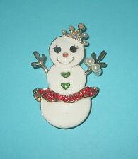 Tiara Gold Tone Faux Pearls Crown Snow Woman Pin Snowman White Skirt Bracelet