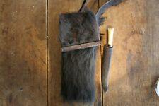 Old Bear Hide Pouch and Large Knife Primitive American Frontier Shoulder Bag