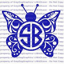 Custom Yeti Sized Filigree Butterfly Monogram Vinyl Decal 2 Initials Sticker